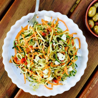 Vegetarian Pesto Courgette n' Carrot Noodles with Feta Cheese and Olives