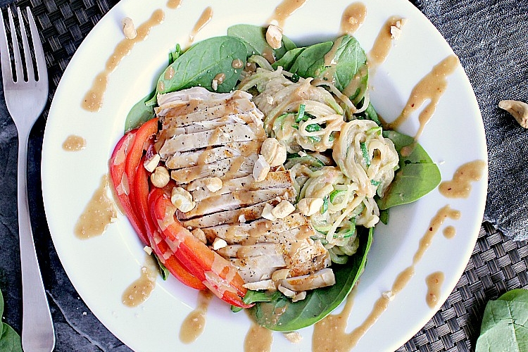 Low Carb Thai Salad with Chicken, Zoodles and Peanut Sauce