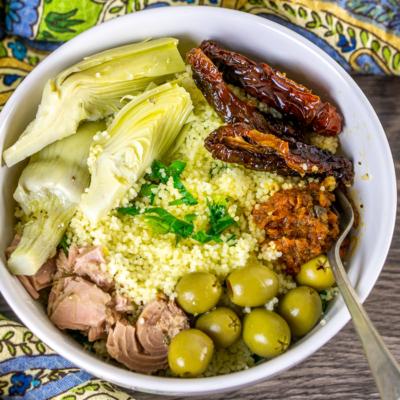 Mediterranean Couscous Tuna Bowls