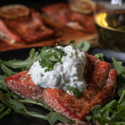 Oven Baked Cedar Plank Salmon with Fresh Cilantro Lime Yogurt Aioli