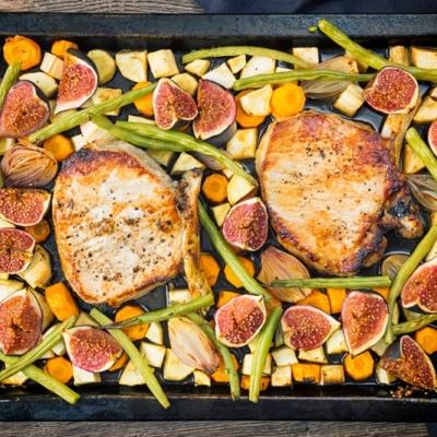 Fig & Pork Chop Tray Bake