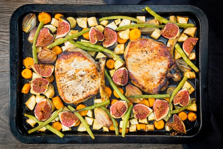Fig & Pork Chop Tray Bake