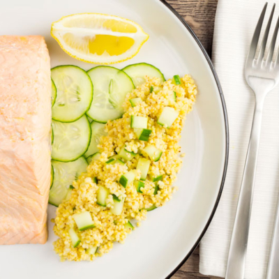 Poached Salmon Recipe with Cucumber and Millet