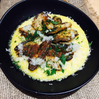 Simple Sardine Fillets and Polenta with Parmesan Cheese and Garlic Sauce