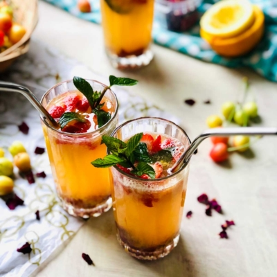 Summer Cocktail with Orange and Passion Fruit