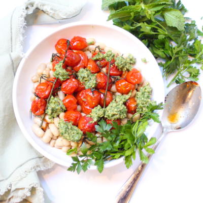 White Beans with Roasted Tomatoes and Herby Pesto