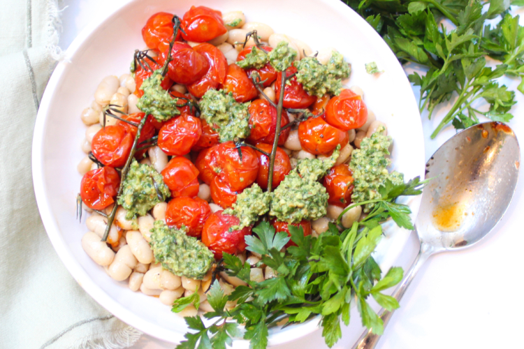 White Beans with Roasted Tomatoes and Herby Walnut Pesto