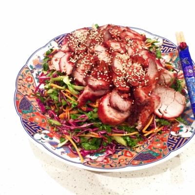 Yu Choy and Char Siu Pork Salad