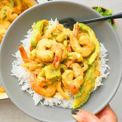 One Skillet Coconut Curry Shrimp