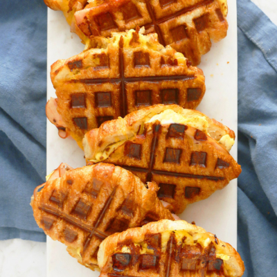 Breakfast Croissant Sandwiches in a Waffle Iron