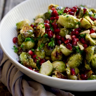 Roasted Brussels Sprouts With Almonds & Pomegranate