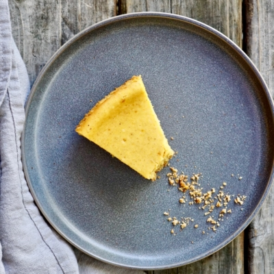 Pumpkin Cheesecake with a Pretzel-Graham Cracker Crust