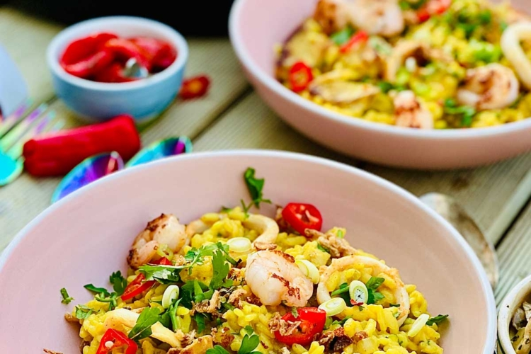 Pork and Seafood Risotto with Turmeric and Long Pepper