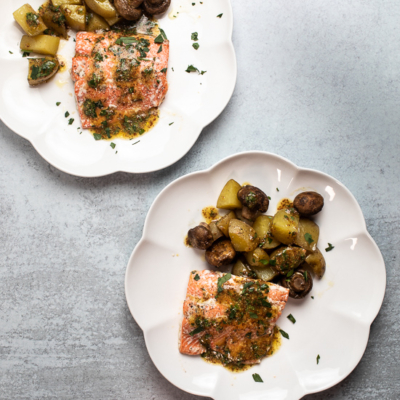 Sheet Pan Salmon with Potatoes