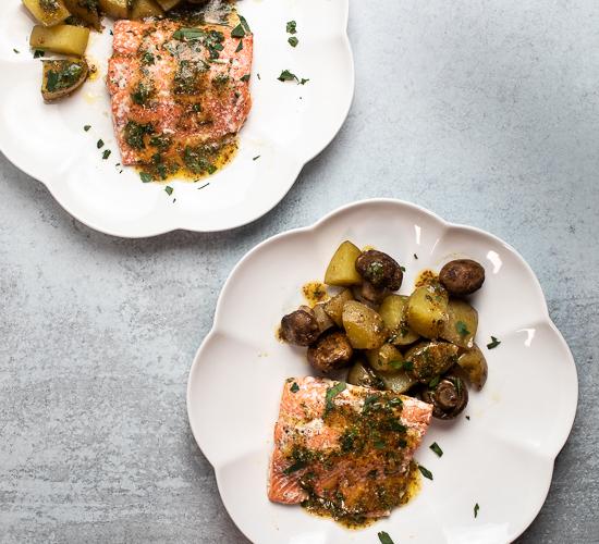 Sheet Pan Salmon with Potatoes