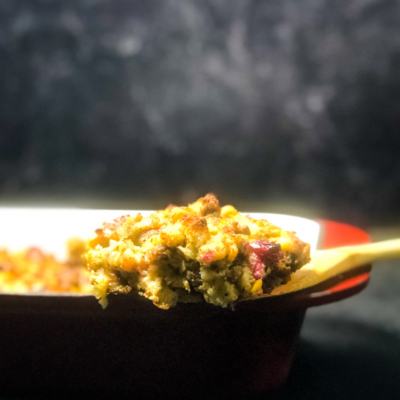 Cornbread Dressing with Sausage and Cranberry