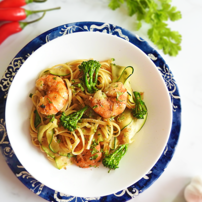 King Prawn Pasta with Chilli & Garlic
