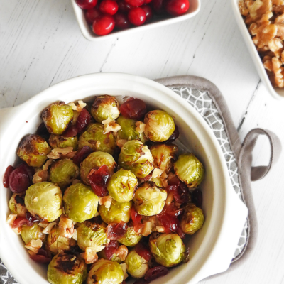 Roasted Sprouts With Cranberries And Walnuts