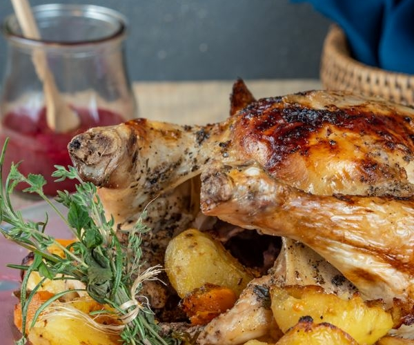 Roasted Chicken & Blackberry Gravy