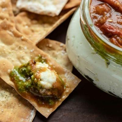 Tomato Ricotta Jam Jar Appetizer