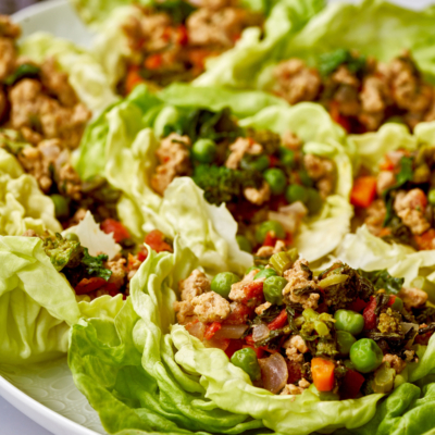Turkey Lettuce Wraps with Thai Chili Ginger & Sweet and Sour Dipping Sauces