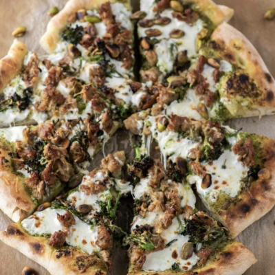 Broccoli Rabe Pesto and Sausage Pizza