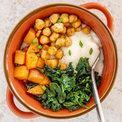Grits with Cajun Sweet Potato & Kale