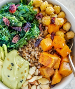 Vegan Buckwheat Bowls with Roasted Sweet Potato, Chickpeas, and Kale