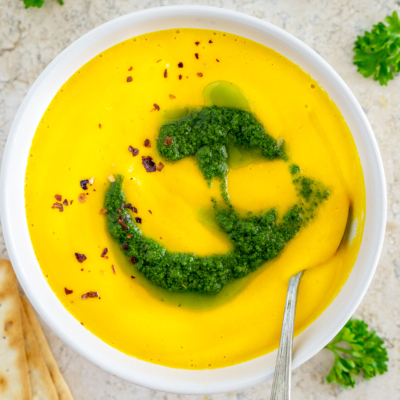 Creamy Vegan Carrot Soup with Parsley Pistou