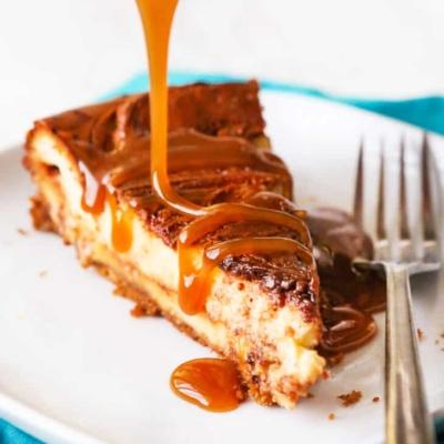 Swirled Caramel Fudge Cheesecake