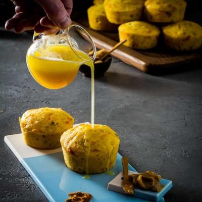 Brown Butter Jalapeño Cheddar Cornbread with Honey Glaze