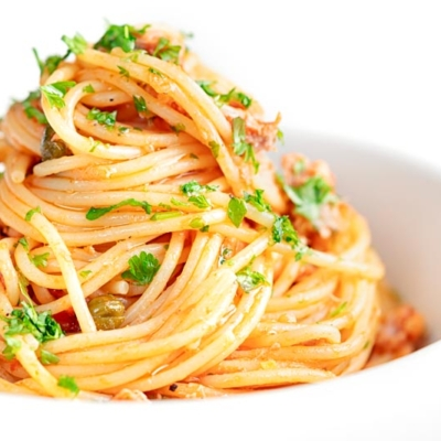 Tomato Tuna Pasta with Capers