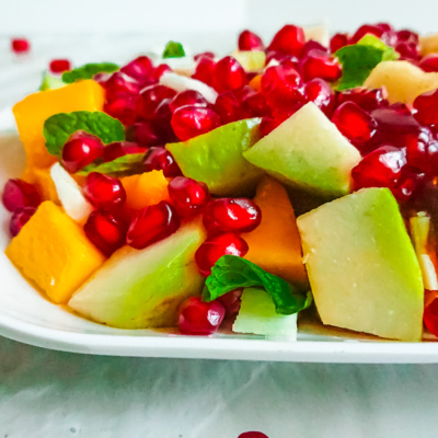 Pomegranate Salad with Mango, Coconut and Palm Sugar Dressing