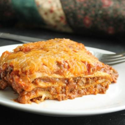 Cheesy Enchilada Lasagna