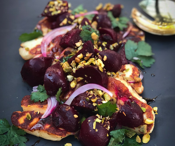 Roasted Beetroot Salad with Halloumi and Pomegranate Glaze