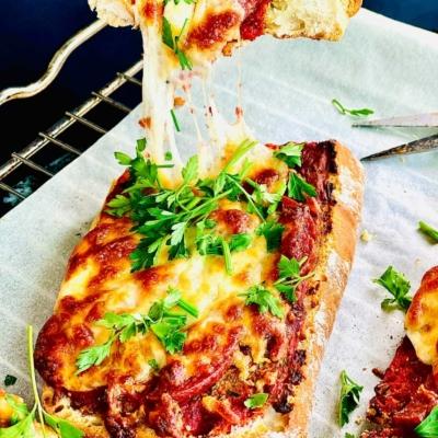 Vegetarian Pizza on Ciabatta Bread