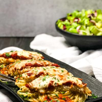 Air Fryer Chicken Parmesan with Homemade Marinara (Gluten-free)