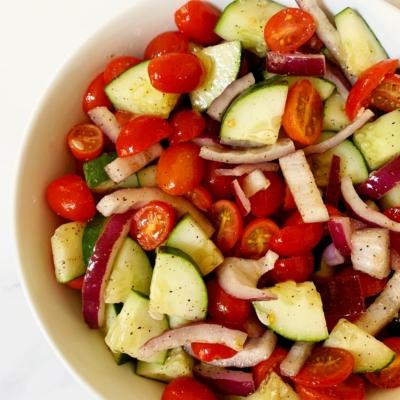 Cucumber Tomato and Onion Salad