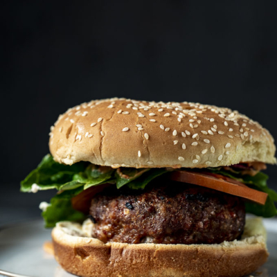 Goat Cheese Stuffed Bison Burger