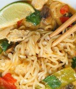 Instant Pot Red Curry Chicken Ramen Soup