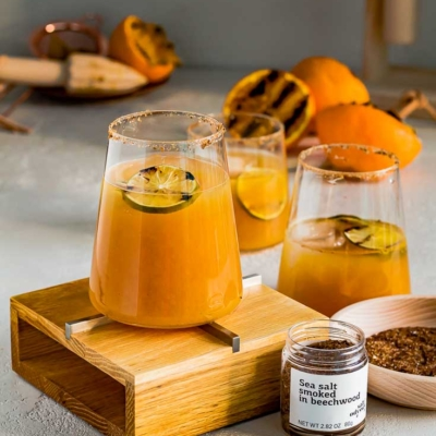 Grilled Orange Margarita with Beechwood Smoked Sea Salt