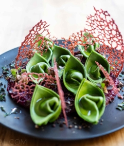 Smoky Nettle Cappellacci with Beetroot Purée and Cocoa-Rhubarb Crumb