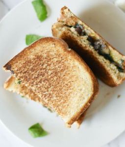 Vegan Mushroom Onion and Spinach Sandwich
