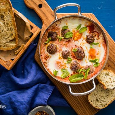 Easy Shakshuka Recipe with Lamb Meatballs & Fig Salami