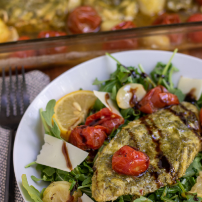 Basil Pesto Chicken Bake