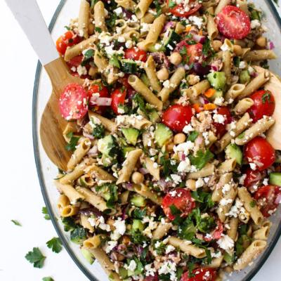 Mediterranean Tuna Chickpea Pasta Salad