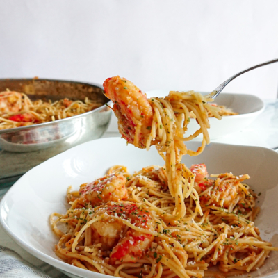 Angel Hair Pasta with Shrimp and Red Sauce