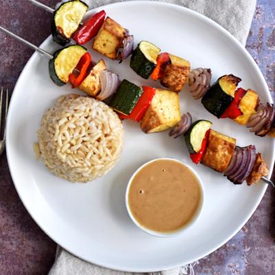 Smoked Tofu Kebabs with Satay Sauce