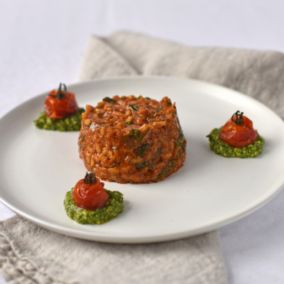 Tomato and Spinach Risotto with Confit Tomatoes and Basil Puree