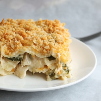 Spinach, Pasta & 3-Cheese Bake